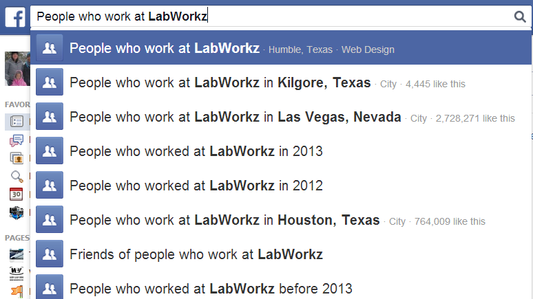 Facebook Search LabWorkz